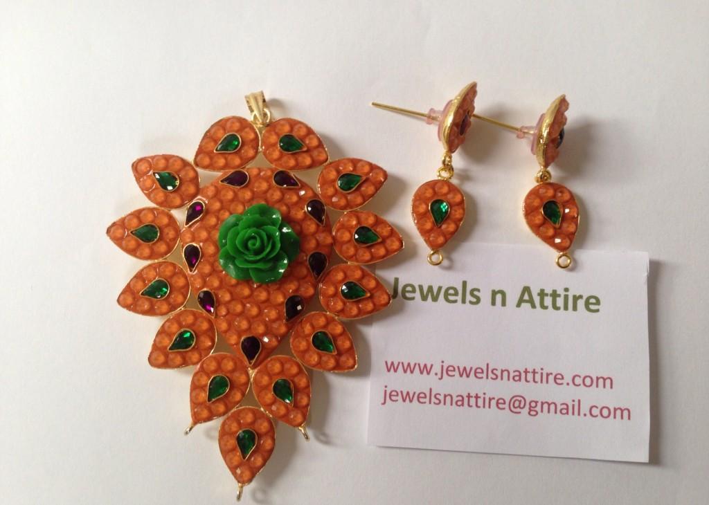 Orange Paachi Pendant set