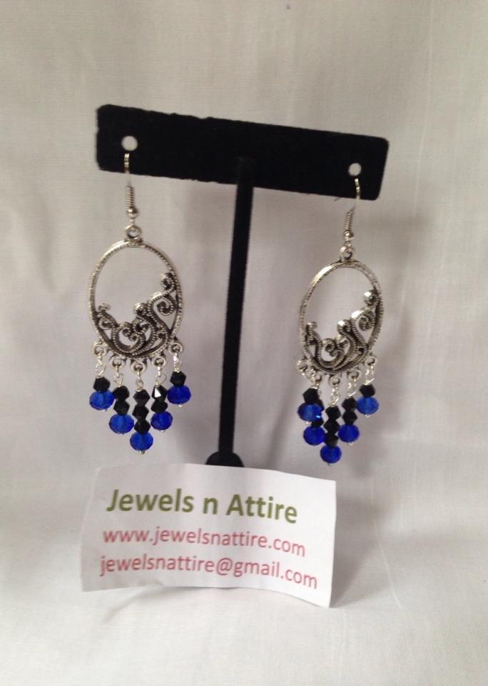 Royal blue and black earring
