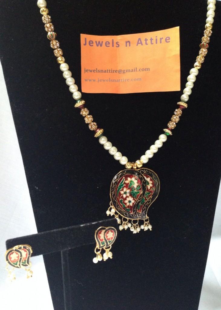 Meenakari pearl set