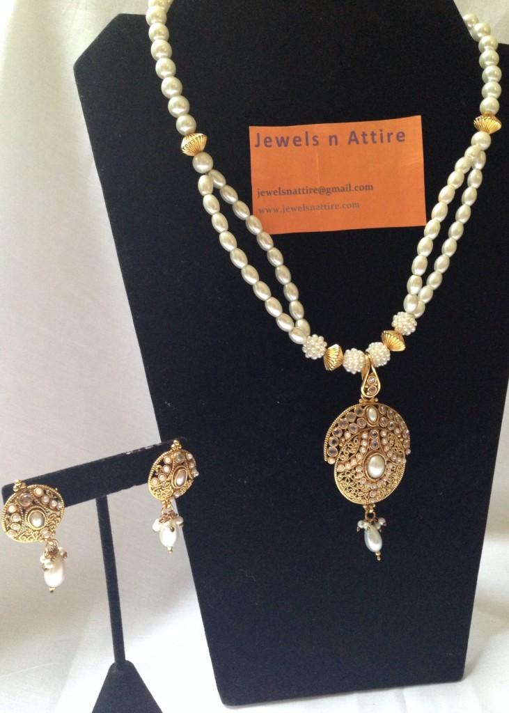 Pearl with kundan set