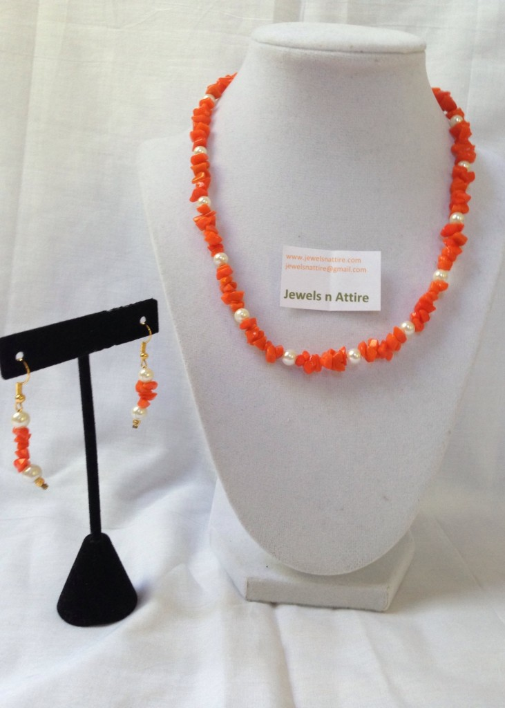 orange chip beads set