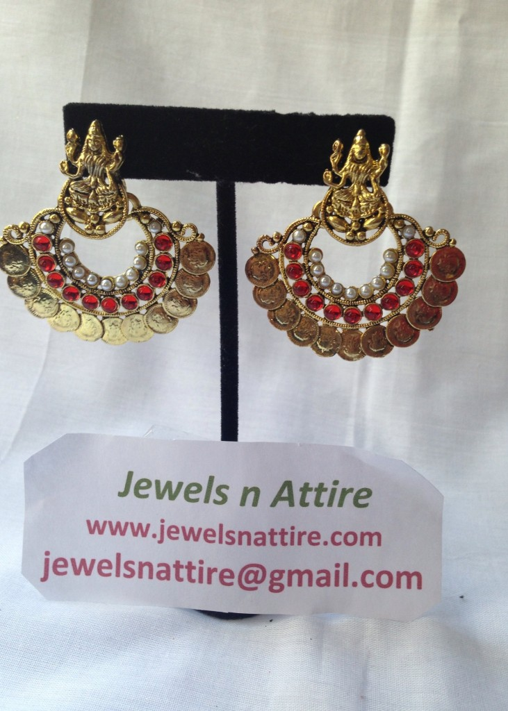 Lakshmi coin Red earring