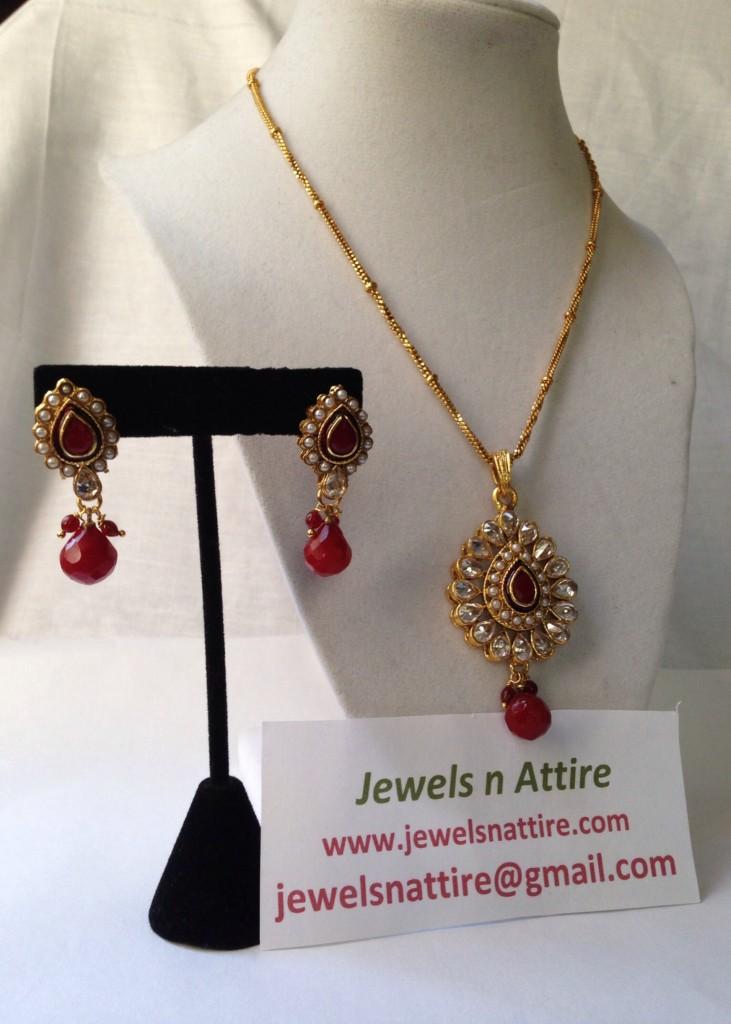 Kundan and red pendant set