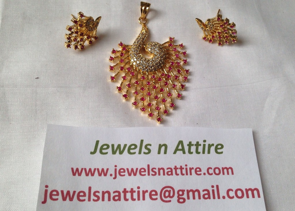 White and Ruby pendant Set