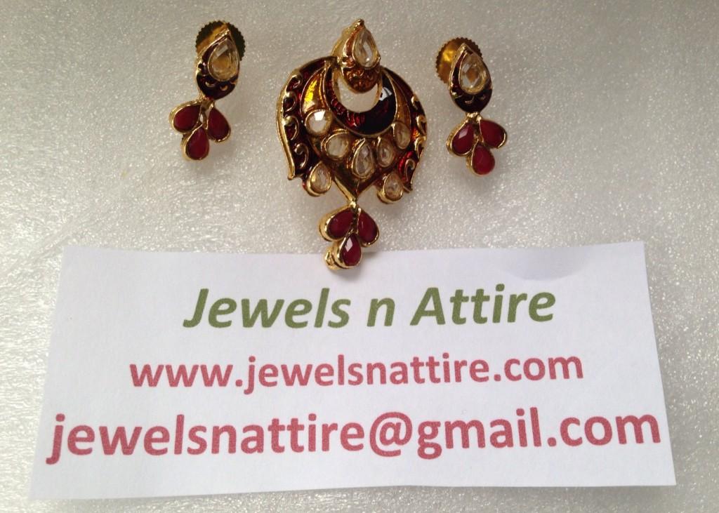 Red enamel pendant set